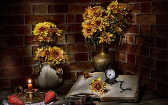 вечер, цветы, род, dark, postcard, свет, букет, ночь, yellow