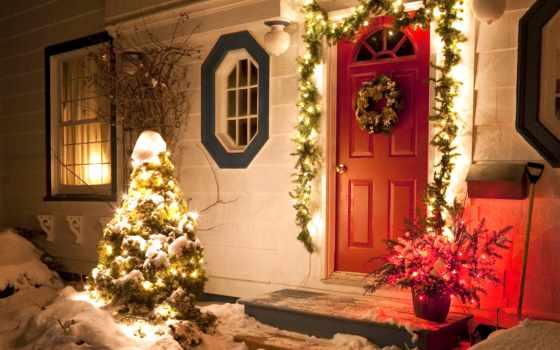christmas, дверь, новогодние