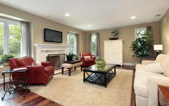 гостиная, диван, камином