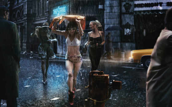 дождь, улица, devushki