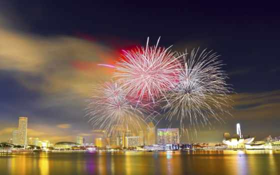 singapore, парад, день, national, fireworks, nasjonaldag, natt, сингапуре, ночью,