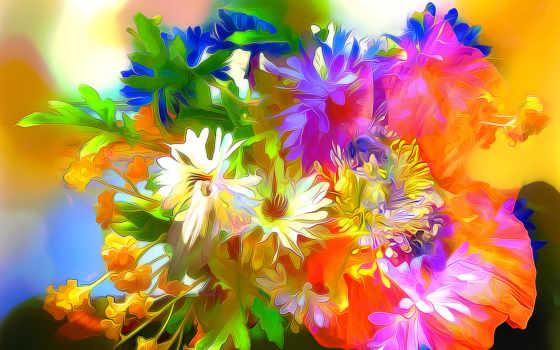 cvety, линии, augusta, размыти, радуга