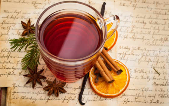 глинтвейн, напиток, оранжевый, cinnamon, бадьян, anise, cup, пряности,