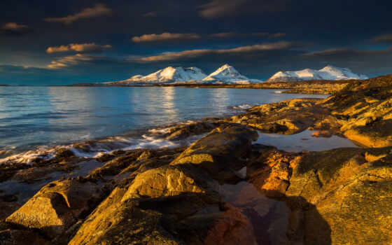 море, камень, rock, гора, небо, природа, зелёный, пляж, облако