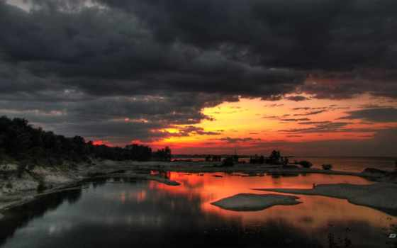 тучи, закат, панорама
