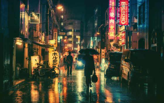 картинка, дождь, город, ночь, города, фотографий, зонтик, tokio,