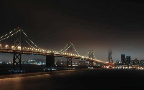город, небоскребы, ночь, здания, мост, огни, тег, всех, которых, есть,