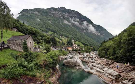 горы, природа, картинка, дома, verzasca, парки, люди, город, turret, valle, миллера,