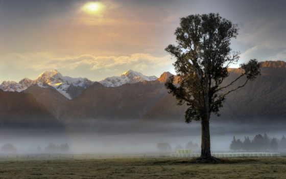 туман, landscape, mountains, шпалери, небо, компьютер, природа, mist, утро,