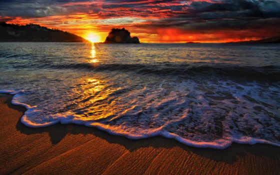 закат, landscape, море