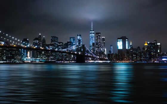 new, york, skyline, ночь, стена, город, mural, плакат