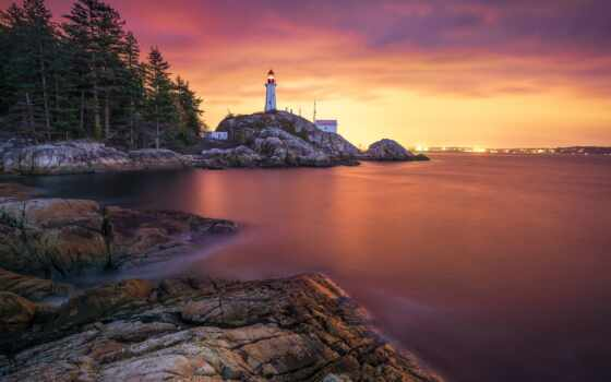 lighthouse, park, берег, море, закат, побережье, vancouver, pazlyi