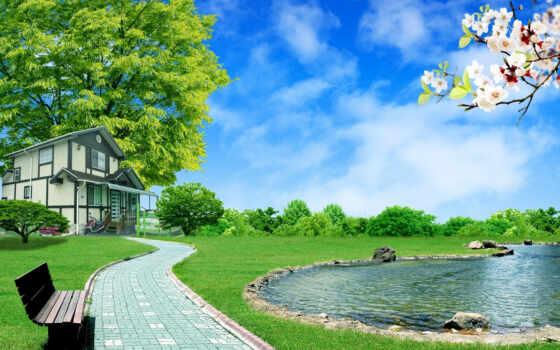 image, nature, house, digital, free, desktop, full, landscape, garden, background, download, home, search, images, hintergrundbilder, peace, stock, lake, part, unsorted,