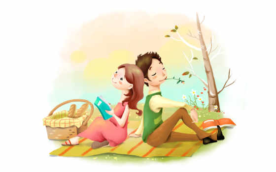 нарисованные, он и она, книга, корзина, батон, покрывало, дерево