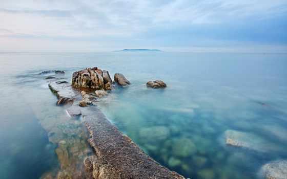 море, рассвет, утро