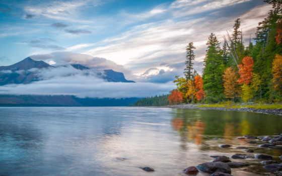 горы, осень, озеро