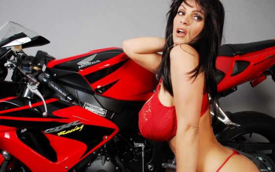 girls, motorcycles, display