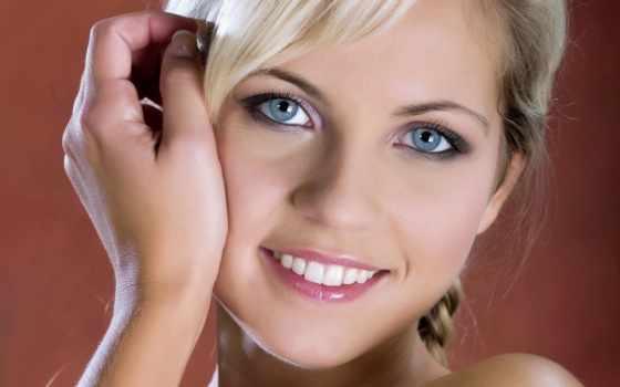 глаза, голубых, девушка