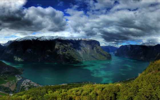 природа, горы, картинка, oblaka, небо, norwegian, hdr, снег, озеро, дальнего,