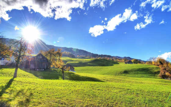 sun, тепло, осень, свет, лужайки, склоны, margin, lodge, rays,
