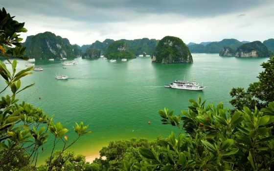 bay, halong, vietnam, море, landscape, природа, остров, корабль, растительность, trees,