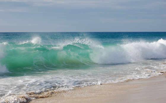 море, water, landscape, waves, небо, берег, волна, песок, природа, пляж,