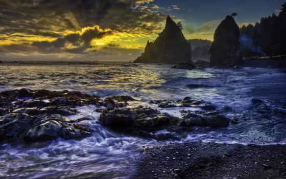 пляж, скалистый, dark, desktop, закат, widescreen, hdr,