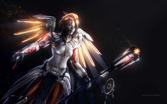 widescreen, artwork, mercy, overwatch,