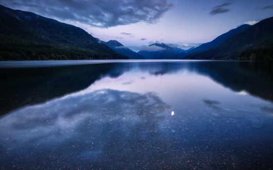 горы, ночь, озеро