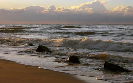 волны, небо, surf