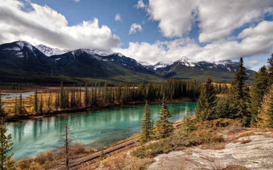 флот, national, банф, горах, дорога, осень, лес, канады, скалистых, столы,
