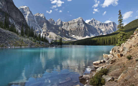 озеро, moraine, канада