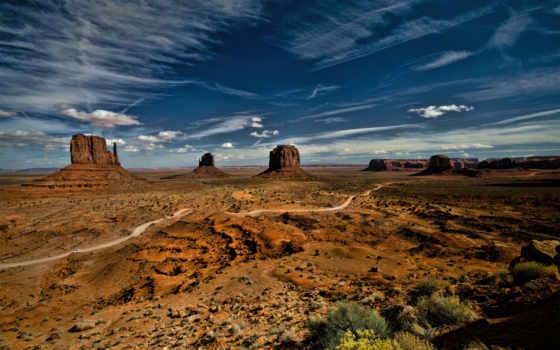 долина, памятник, монументов, значок, usa, небо,