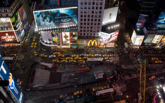 square, new, york, ночь, нью, usa,