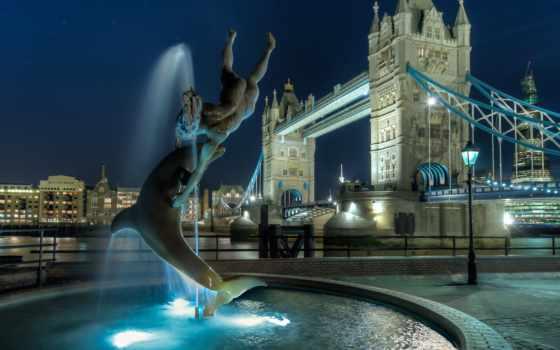 башня, мост, london, великобритания, ночь, англия, ук,