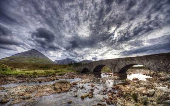 hdr, старинный, мост, камень, река, paisagem, temples,