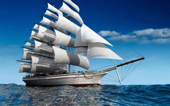 корабль, лодка, море
