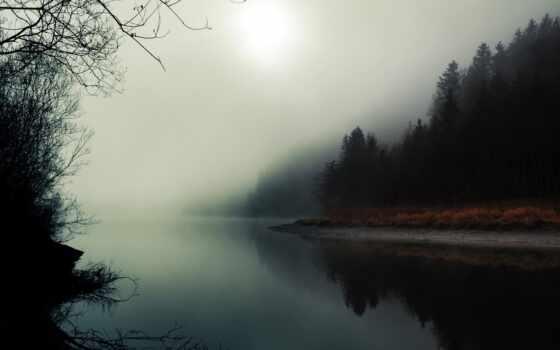 туман, река, осень, природа, лес, вечер, отражение, late, among, flash, облако