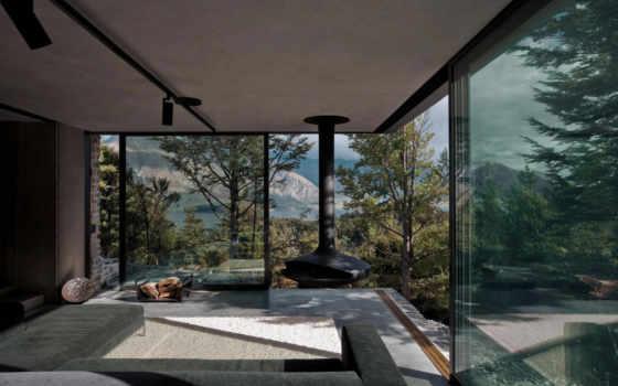 сено, от, fearon, architects, загородная, retreat, гора, резиденция, расположена, озера, проект,