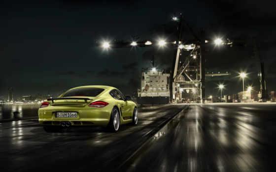 ночь, скорость, дорога, огни, cayman, вечер, море, авто, скорости, город, порт,
