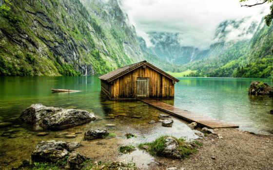 горы, озеро, lodge, german, природа, obersee, бавария, ангар, туман, озера, wooden,
