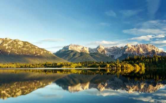 горы, отражение, озеро, природа, вершины, листва, автоматически, программа, осень, определит, добавил,