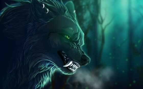 волк, арта, animal, art, branch, лес, взгляд, пасть, рогатый, лань