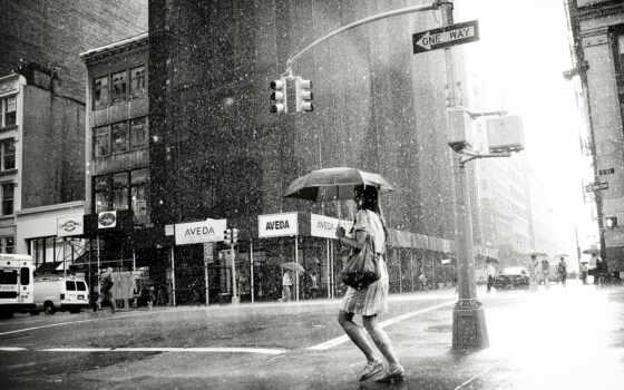девушка, дождь, женщина, black, мотиватор, loneliness, город, мегаполис