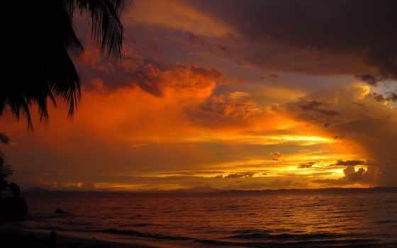 закат, море, разделе, облака, берег, вечер, тучи, природа,