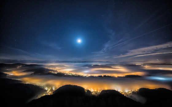 луна, ночь, город