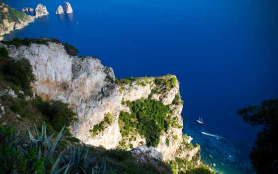 capri, пейзажи -, anacapri, italy, napoli, italian, взгляд, province, сверху, campania,