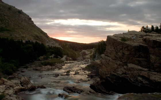 природа, glacier, камнях, water, холмов, река, между, страница, national, inn, остров,