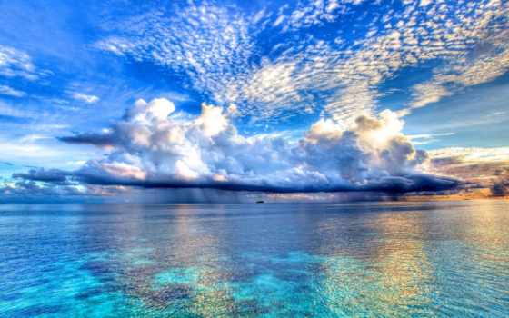ocean, море, небо, click, one, берег, моря, заставки, природа, oblaka,