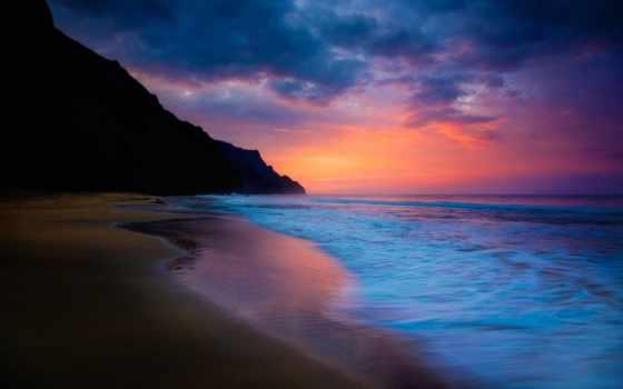 небо, пляж, море, высоком, waves,